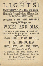 Advert For J. S. Brooks' Oil Lamp Store